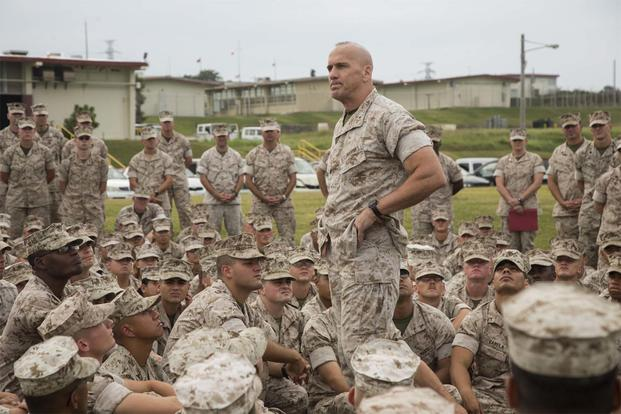 FILE - U.S. Marine Corps Maj. Gen. Richard Simcock II, commanding general of 3rd Marine Division, talks a group of his Marines on Camp Courtney, Okinawa, Japan, Oct. 9, 2015. (U.S. Marine Corps photo/LCpl. Makenzie Fallon)