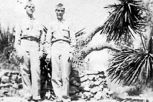 Hubert Edward Spires, left, is seen in this handout photo taken when he was in the Air Force.