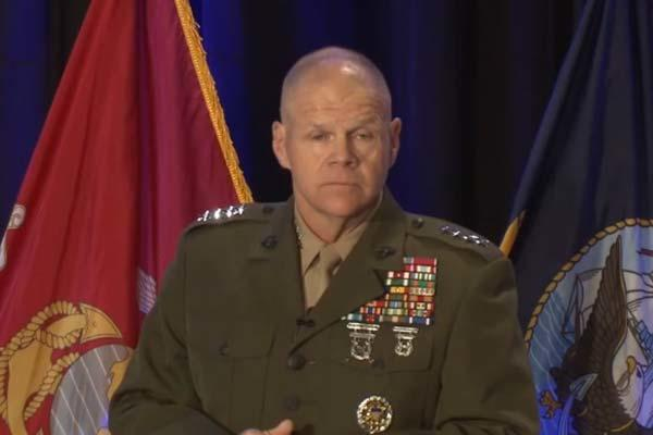 Gen. Robert Neller  speaks at the Surface Navy Symposium, January 12, 2017 (Screen grab from Marine Corps webcast)