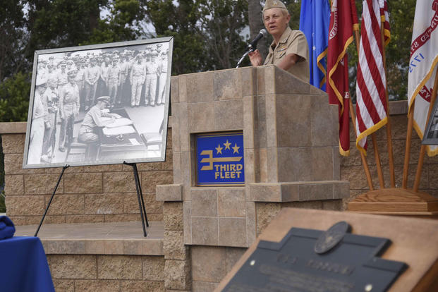 Vice Adm. Nora Tyson, commander, U.S. 3rd Fleet, delivers remarks during a ceremony at 3rd Fleet Headquarters commemorating the 70th anniversary of the end of World War II, Sept. 2, 2015. (U.S. Navy/Mass Communication Specialist 2nd Class Kory Alsberry)