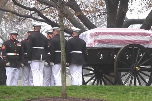 Legendary Marine, astronaut and Senator John Glenn is laid to rest at Arlington National Cemetery April 6, 2017. (Video screengrab from Defense Media Activity)