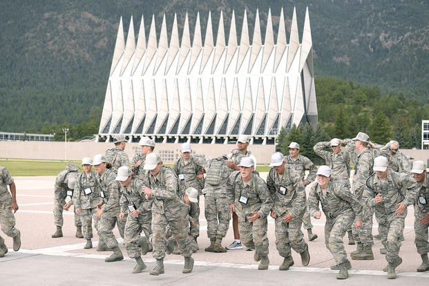 Basic cadets run on the U.S. Air Force Academy's terrazzo in Colorado Springs, Colo., July 12, 2017. (U.S. Air Force photo/Darcie Ibidapo)