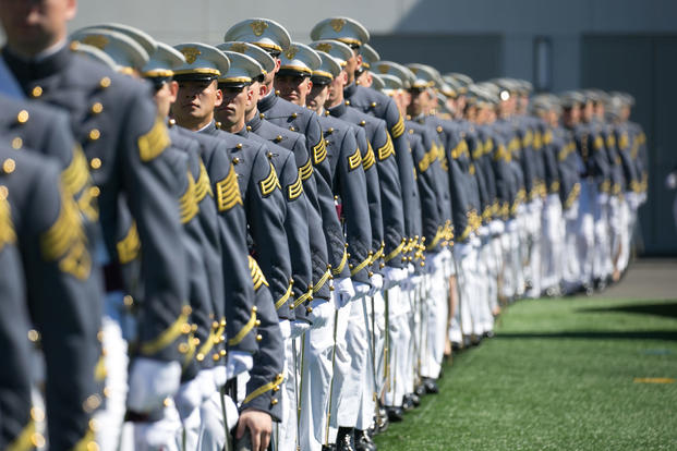 U.S. Military Academy cadets enter Michie Stadium at West Point for their graduation ceremony, May 27, 2017. Nine hundred thirty-six cadets from the Class of 2017 received their diplomas during the ceremony. (U.S. Army photo/Staff Sgt. Vito Bryant)