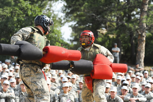 Class of 2021 cadets compete for the Big Bad Basic title at the Air Force Academy, Colo., Aug. 2, 2017. The competition is a single-elimination pugil stick tournament in both men's and women's divisions. (U.S. Air Force/Tech. Sgt. Julius Delos Reyes)