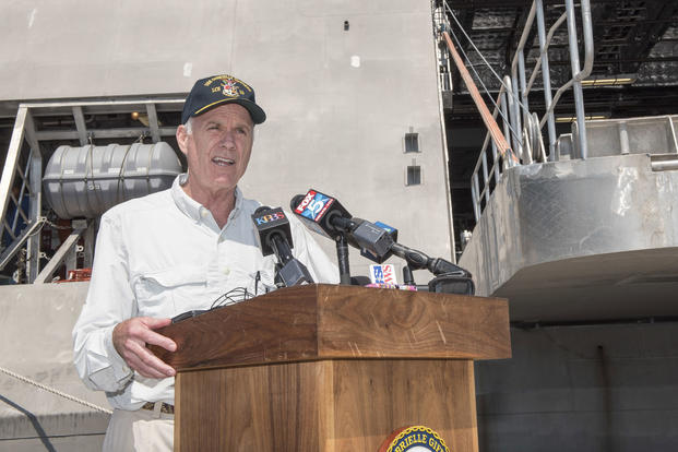 Secretary of the Navy (SECNAV) Richard V. Spencer answers media questions during his fleet visit to San Diego, Aug. 29, 2017. (U.S. Navy photo/Mass Communication Specialist 2nd Class Jonathan B. Trejo)