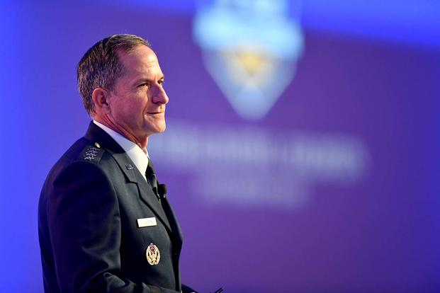 "Air Force Chief of Staff Gen. David Goldfein gives his ""Air Force Update"" during Air Force Association's ""Air, Space, Cyber"" conference in National Harbor, Md., Sept. 19, 2017. (U.S. Air Force photo/Wayne A. Clark)"