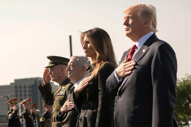 From right: President Donald Trump, first lady Melania Trump, Defense Secretary Jim Mattis, and Chairman of the Joint Chiefs Gen. Joseph Dunford Jr., at the 9/11 observance ceremony at the Pentagon, Sept. 11, 2017. (DOD/Army Sgt. Amber I. Smith/DoD)
