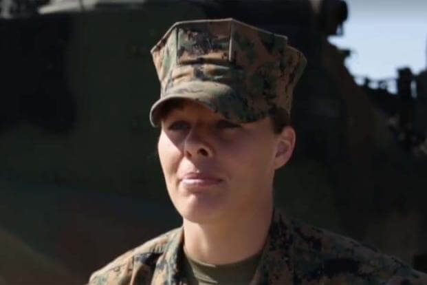Marine 2nd Lt. Mariah Klenke is the Corps' first female AAV officer. Screengrab