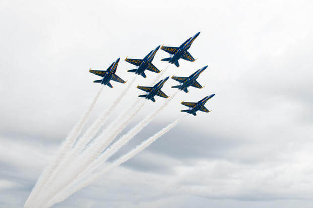 U.S. Navy Flight Demonstration Squadron, the Blue Angels, Delta perform a Delta Flat Pass at the Jacksonville Beach Sea and Sky Spectacular Air Show. (Photo: Mass Communication Specialist 1st Class Andrea Perez)