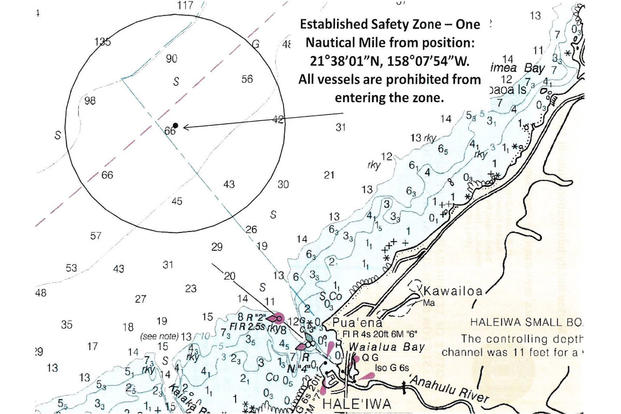 The Coast Guard will enforce a temporary safety zone approximately 2.9 miles northwest of the Haleiwa small boat harbor, Oahu, beginning Jan. 20, 2016, and running through Feb. 10, 2016. (U.S. Coast Guard graphic)
