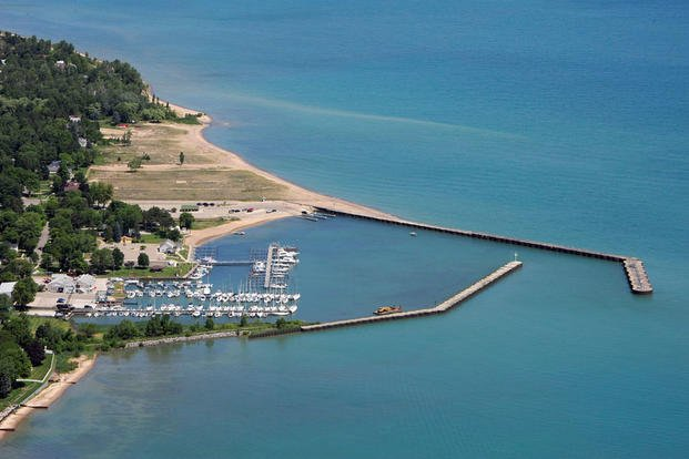 Aerial photo of Port Sanila Harbor, Michigan. (Photo: U.S. Army Corps of Engineers)