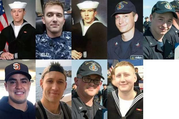 Sailors identified by the Navy as missing after the USS McCain mishap. (U.S. Navy photos)