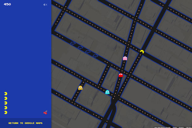 This screen shot made Tuesday, March 31, 2015 shows the Times Square area of New York in Pac-Man form on Google Maps. Google added the option to convert its popular navigation service into the Pac-Man video game in celebration of April Fools' Day.