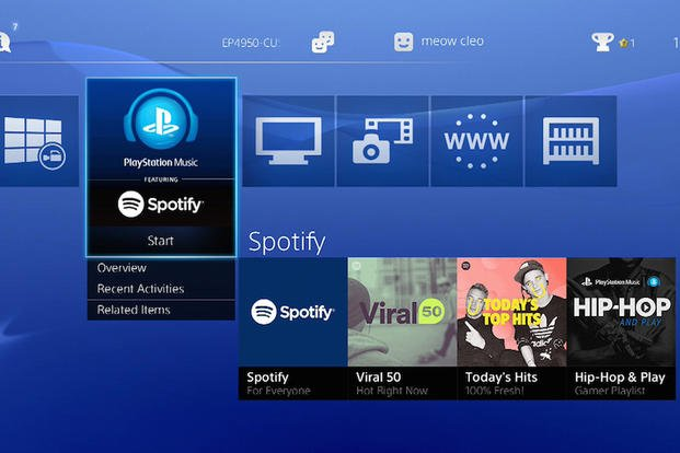 This undated image provided by Sony Computer Entertainment America shows a screen grab of tiles of Spotify on Playstation 4. Sony announced that it was ditching its own Music Unlimited service in favor of Spotify.