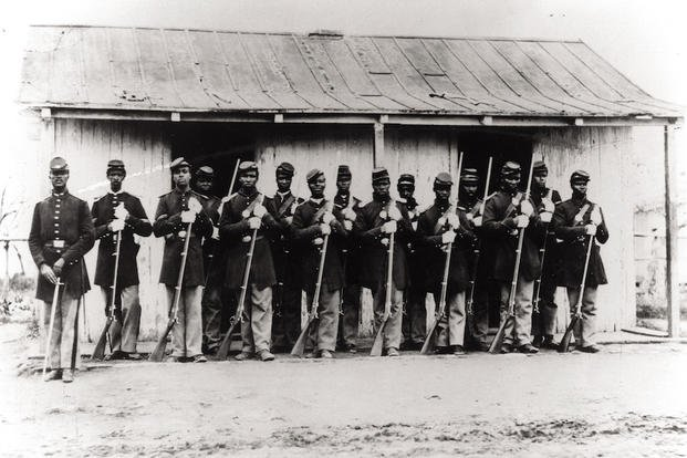 "This undated photograph provided by courtesy of the Library of Congress and PBS shows the provost Guard of the 107th Colored Infantry at Fort Corcoran, part of the defenses of Washington, included in the film, ""The Civil War."""