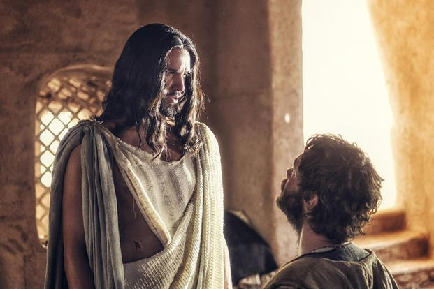 "In this image released by NBC, Juan Pablo Di Pace portrays Jesus, left, and Johannes Haukur Johannesson portrays Thomas in a scene from ""A.D. The Bible Continues."""
