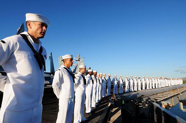 Sailors man the rails aboard the USS Ronald Reagan