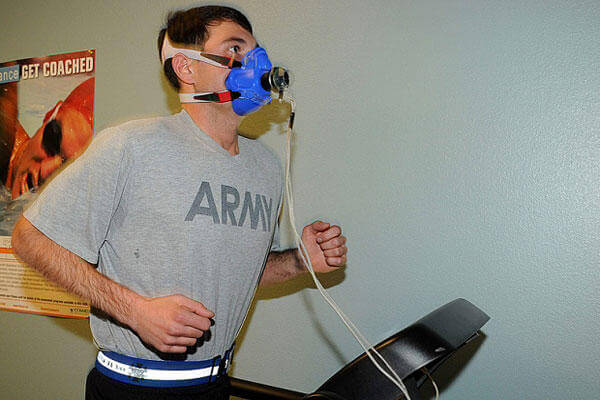 A soldier takes a VO2 Max test at the Fort Carson Army Wellness Center Jan. 11, 2013. Nathan Thome/Army