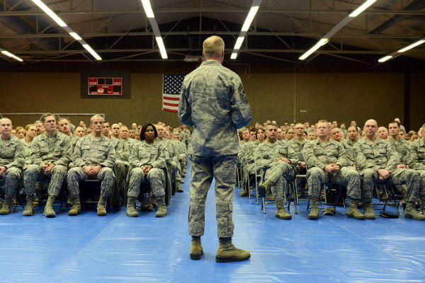Chief Master Sgt. Of The Air Force James Cody Addresses A Crowd Of  Spangdahlem Air