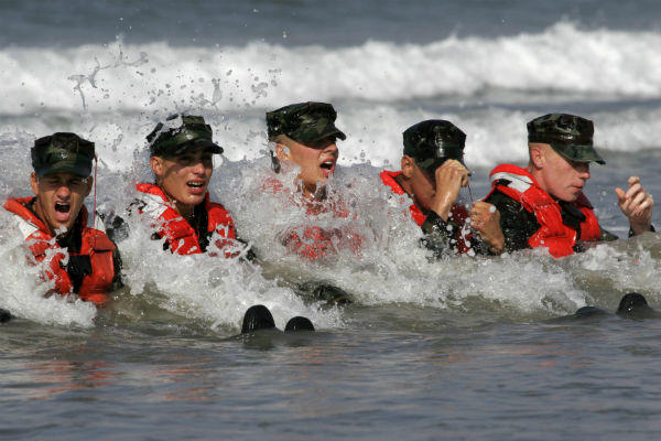 U.S. Navy Sailors in Basic Underwater Demolition/SEAL Class