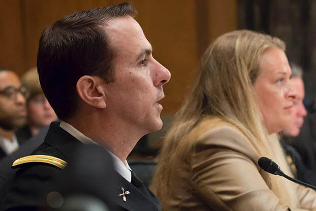 Lt. Col. Jason Amerine testifies at a Senate Homeland Security and Governmental Affairs Committee hearing in Washington, D.C., June 11, 2015. Rick Vasquez/Stars and Stripes