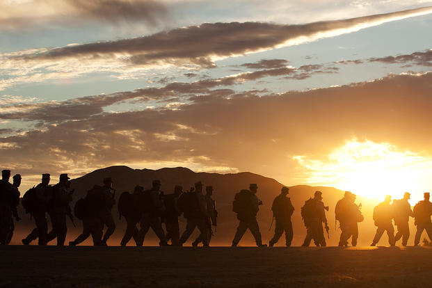 Marines with 3rd Battalion, 3rd Marine Regiment, hike toward Range 101 on Marine Corps Air Ground Combat Center Twentynine Palms, California. (Photo: U.S. Marine Corps/Cpl. Reece Lodder.)