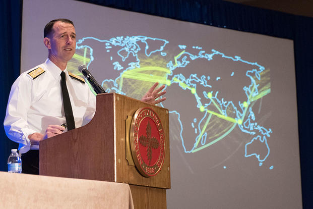 Chief of Naval Operations (CNO) Adm. John Richardson discusses his strategic guidance, 'A Design for Maintaining Maritime Superiority,' during a conference hosted by the American Society of Naval Engineers (ASNE). (U.S. Navy/MC1 Elliott Fabrizio)