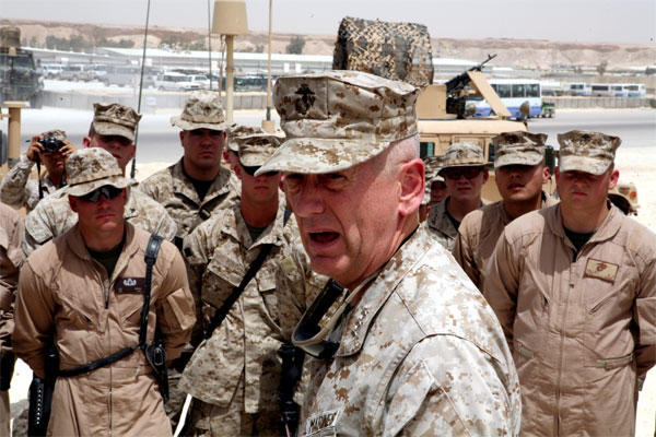 May 2007: Lt. Gen. James Mattis speaks to members of Marine Wing Support Group 27 in Al Asad, Iraq. (DoD photo)