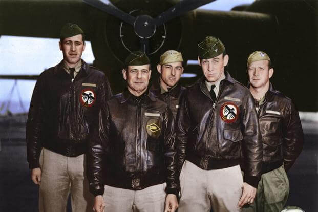 Crew 1: Lt. Col. James Doolittle, pilot (left); Lt. Richard Cole, copilot; (back) Lt. Henry Potter, navigator; SSgts Fred Braemer, bombardier; Paul Leonard, flight engineer/gunner. (Colorized images © copyright 2017 Lori Lang, LBL Graphic Design)