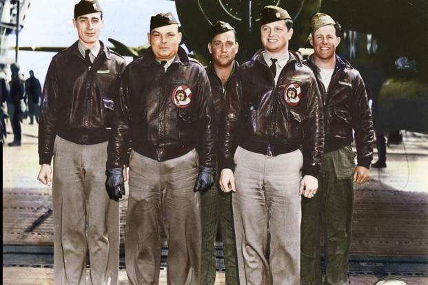 Crew 13: Lt. Edgar McElroy, pilot; Lt. Richard Knobloch, copilot; Lt. Clayton Campbell, navigator; MSgt. Robert Bourgeois, bombardier; Sgt. Adam Williams, flight engineer/gunner. (Colorized image © copyright 2017 Lori Lang, LBL Graphic Design)