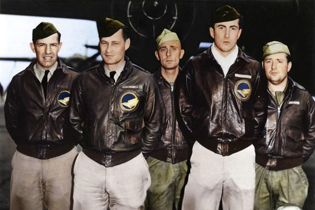 Crew 14: Maj. John A. Hilger, pilot; Lt. Jack A. Sims, copilot; Lt. James H. Macia Jr., navigator/bombardier; SSgt. Job Eierman, flight engineer; SSgt. Edwin V. Bain, gunner. (Colorized image © copyright 2017 Lori Lang, LBL Graphic Design)