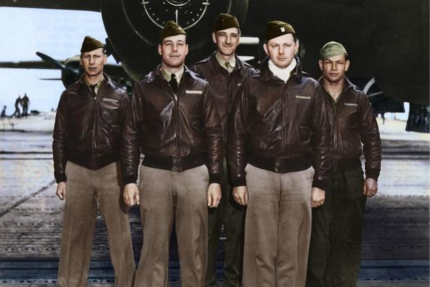 Crew 2: Lt. Travis Hoover, pilot; Lt. William N. Fitzhugh, copilot; Lt. Carl R. Wildner, navigator; Lt. Richard E. Miller, bombardier; Sgt. Douglas V. Radney, flight engineer/gunner (Colorized image © copyright 2017 Lori Lang, LBL Graphic Design)