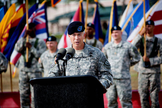 Then-Brig.Gen. Bryan Fenton speaks at Schofield Barracks, Hawaii in June 2015. He is now the first special operations officer to become deputy commander of the U.S. Pacific Command. (US Army photo/Tramel Garrett)