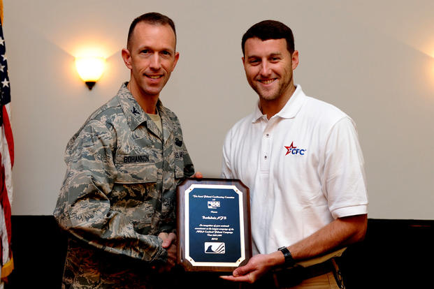 September 2013: Col. Leland Bohannon receives an award from a Combined Federal Campaign representative at Barksdale Air Force Base, La. The colonel is now fighting disciplinary actions received at Kirtland AFB, N.M. (US Air Force photo/Joseph Pagán Jr.)