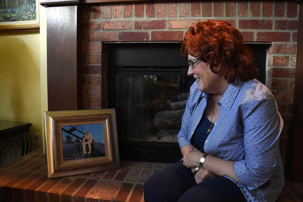 Patricia O'Kane-Trombley reflects on the life of her son at her home in Colorado Springs, Colorado. Her son, Capt. Thomas Gramith, died while deployed to Afghanistan in 2009. (Photo: U.S. Air Force/Tech. Sgt. Wes Wright.)