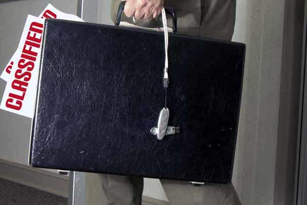 Classified documents in a briefcase.