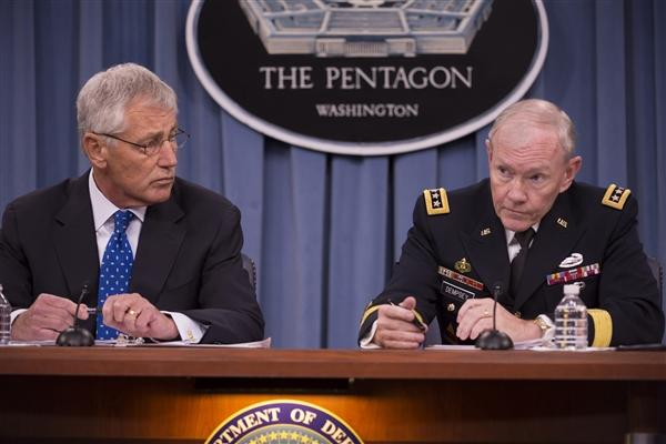 Chuck Hagel and Martin Dempsey at panel.