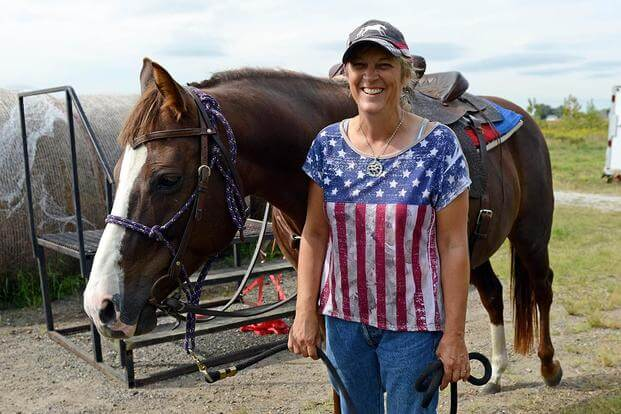 Iowa-based nonprofit Thunder Rode conducts a therapeutic horseback riding program for veterans. (Photo courtesy of the Department of Veterans Affairs)