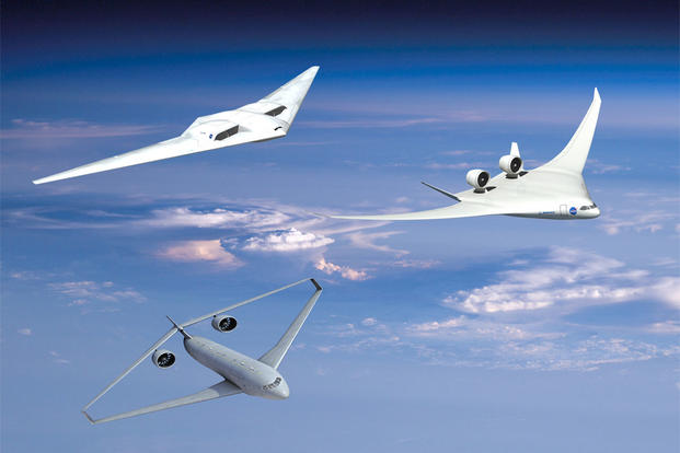 2011 image related to NASA's goals of making future aircraft burn 50% less fuel than aircraft that entered service in 1998, emit 75% fewer harmful emissions; and shrink geographic areas affected by objectionable airport noise by 83%. (Image: NASA)