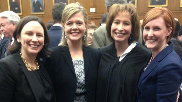 Judge Patricia Millet stands with MSJDN members Josie Beets, Mary Redding Smith and Reda Hicks.