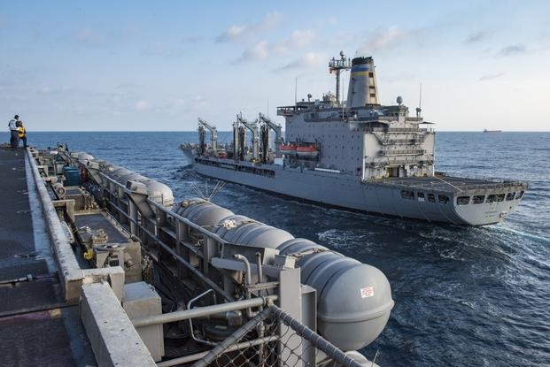 The Henry J. Kaiser-class fleet replenishment oiler USNS Rappahannock (T-AO 204) pulls alongside the Nimitz-class aircraft carrier USS Carl Vinson (CVN 70). The U.S. Navy has patrolled the Indo-Asia-Pacific routinely for more than 70 years promoting regional peace and security.