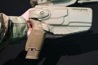 The Army's new holster for the XM17 full-size version of the Modular Handgun System, made by The Safariland Group. (Photo by Matthew Cox/Military.com)