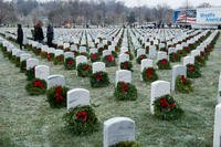 Wreaths rest on headstones in Arlington National Cemetery during the Wreaths Across America event, Dec. 17, 2016, in Arlington, Va. (U.S. Army photo/Rachel Larue)