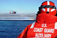 Coast Guard Auxiliary Helicopter Training Team Los Angeles aboard Ladyfish III during rescue swimmer drills. Photo by Auxiliarist Steve Lee