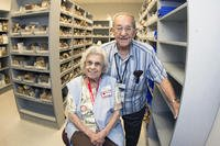 Carmen Lopez and retired U.S. Air Force Master Sgt. Luis Lopez, pose for a photo inside the pharmacy at David Grant USAF Medical Center at Travis Air Force Base, California. (U.S. Air Force/T.C. Perkins Jr.)