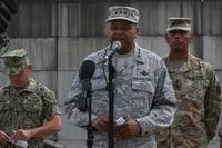 Lt. Gen. Samuel A. Greaves, Missile Defense Agency commander, speaks at Osan Air Base, South Korea, in front of two Patriot launching stations, August 22, 2017. (U.S. Army/ Staff Sgt. Monik Phan)