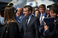French President Emmanuel Macron visits the U.S. military corral at the Paris Air Show, June 19, 2017 at Le Bourget, France. (U.S. Air Force photo/Ryan Crane)