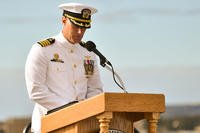 Captain William Sherrod gives a speech during a Change of Command ceremony aboard the museum ship USS Midway, Nov. 2, 2017. (U.S. Navy photo/Jacob I. Allison)