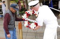 Then-Capt. Mark Kobelja and retired chief Andy Mills lay a wreath during a commemoration for the 70th anniversary of the Battle of Midway and the Bicentennial of the War of 1812 ceremony, June 4, 2012. (U.S. Navy photo/Anastasia Puscian)