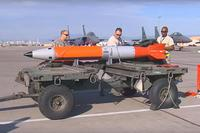 The US Air Force and National Nuclear Security Administration (NNSA) prepare a flight test of the B61-12 guided nuclear bomb at the Nevada Test and Training Range. (Screengrab of U.S. Air Force Video by SSgt. Cody Griffith)